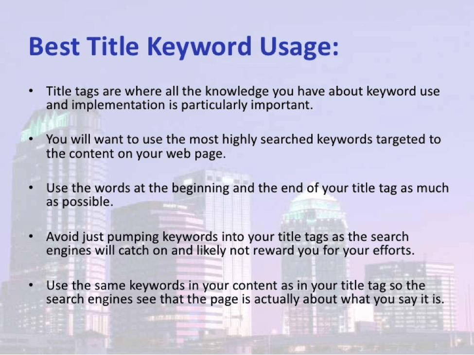 Best Title Keyword Usage